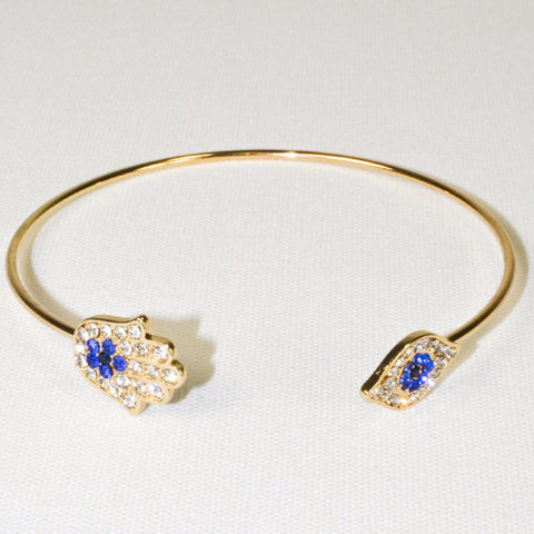 Yellow Gold Plated blue turkey evil eye bangle Cuff Bracelet