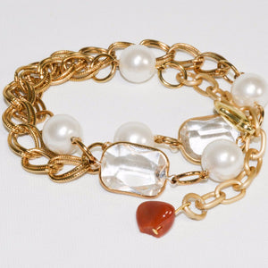 Yellow Gold color link chain w/Glass Beads & pearls