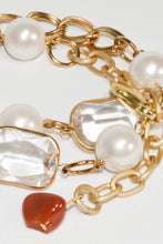 Load image into Gallery viewer, Yellow Gold color link chain w/Glass Beads & pearls