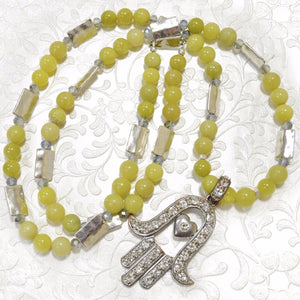 Yellow Jade with platinum connectors and a Large Hamssah Necklace