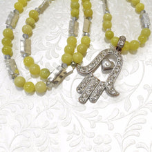 Load image into Gallery viewer, Yellow Jade with platinum connectors and a Large Hamssah Necklace