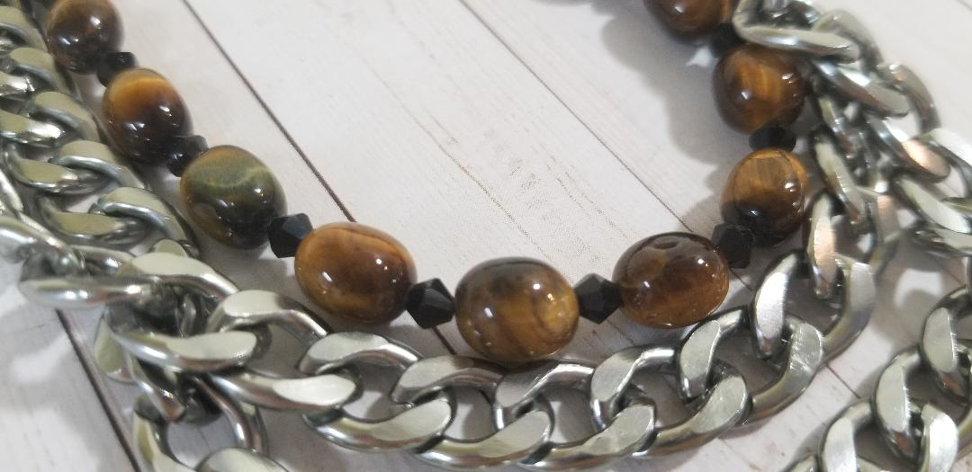Frost Agate Tiger Eye Necklace