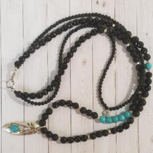 Load image into Gallery viewer, Turquoise Onyx Black Agate Metal Necklace