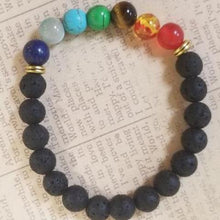 Load image into Gallery viewer, Lava Beads Chakra Bracelet