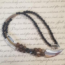Load image into Gallery viewer, Frost Agate Black Calcite Magnet Talon Necklace