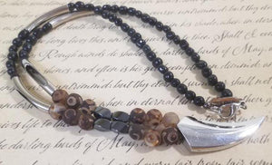 Frost Agate Black Calcite Magnet Talon Necklace