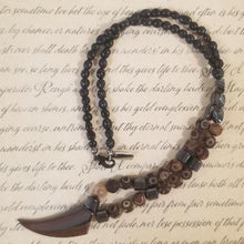 Load image into Gallery viewer, Hematite Frost Agate Black Calcite Magnet Talon Necklace