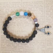 Load image into Gallery viewer, Lava Beads Chakra charm Bracelet