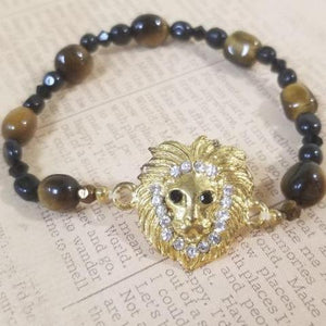 Lion Tiger Eye Black Calcite Beads Bracelet