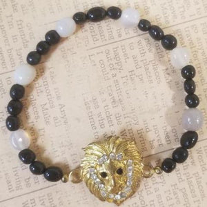 Lion Black Calcite Beads White Agate Bracelet
