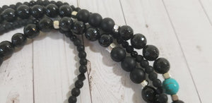 Turquoise Onyx Black Agate Metal Necklace