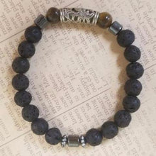 Load image into Gallery viewer, Lava Beads Tiger Eye Bracelet
