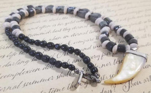 Wood Frost Agate Black Calcite Hematite Magnet Necklace