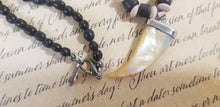 Load image into Gallery viewer, Wood Frost Agate Black Calcite Hematite Magnet Necklace