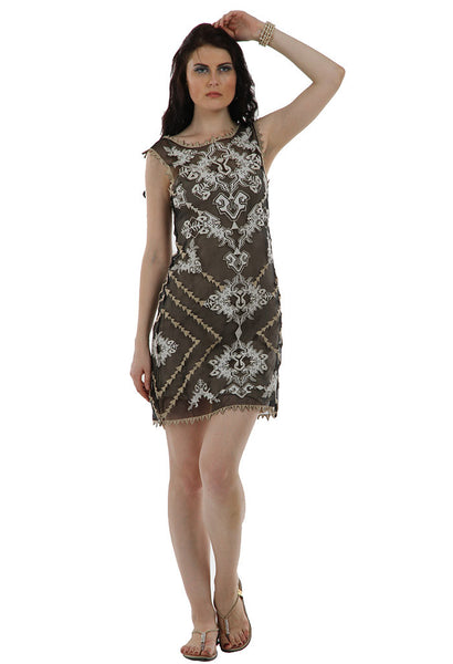 Lady R Sahar Silk Organza Boat Neck Dress
