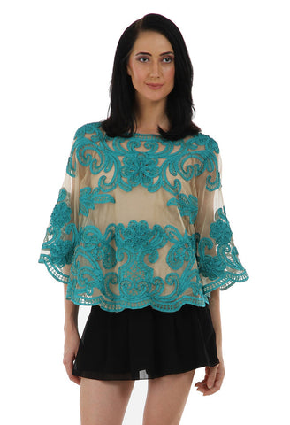 Lady R Gayle Green Tapping Embroidery Poncho