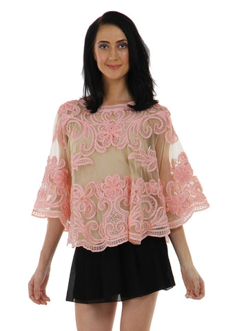 Lady R Gayle Pink Tapping Embroidery Poncho