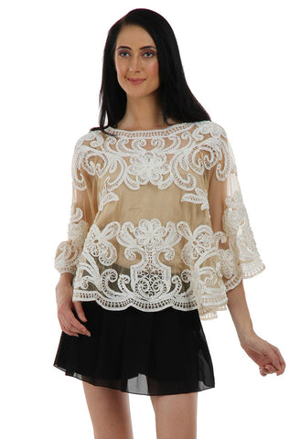 Lady R Gayle Cream Tapping Embroidery Poncho