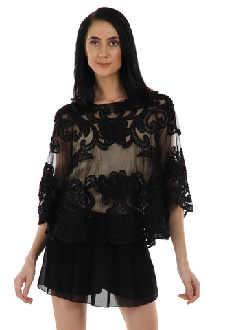 Lady R Gayle Black Tapping Embroidery Poncho