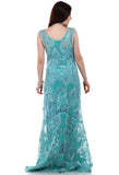 Lady R Katherine V-neckline Blue Shaded Gown