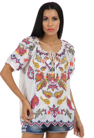 Lady R sophia multi-coloured cross-stitched top