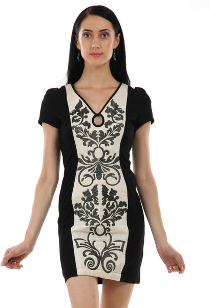 Lady R Marcove Quilting V-neckline Dress