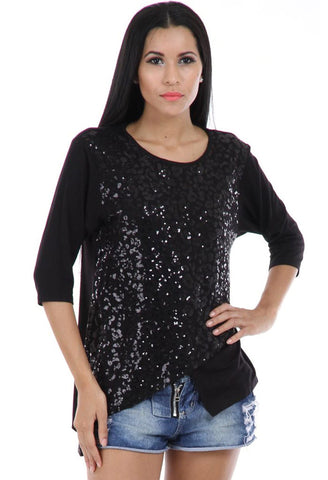 Lady R Novalia Round Neck Sequins Worked Top