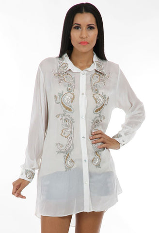 Lady R Rian Viscose Crape Collared Shirt