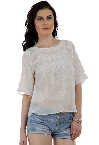 Lady R Hesha thread And Cord Work Embroidery Top