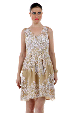 Lady R Sacnite Beige With White Thread Emb Dress