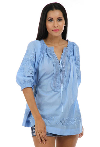 Lady R Gaynor Cotton Voil Lace Top