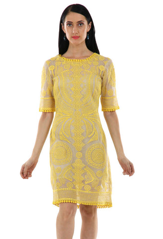 Lady R Qumar Yellow Cord Work Embroidered Dress