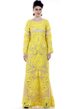 Lady R Elisa full-sleeves Yellow Cord work embroidery gown