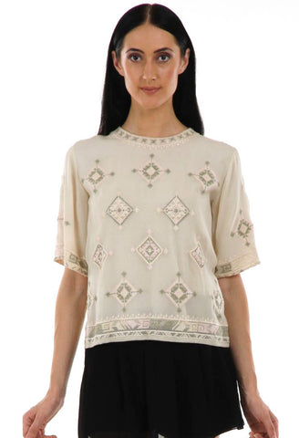 Lady R Lenore Cross-stitch Georgette Top