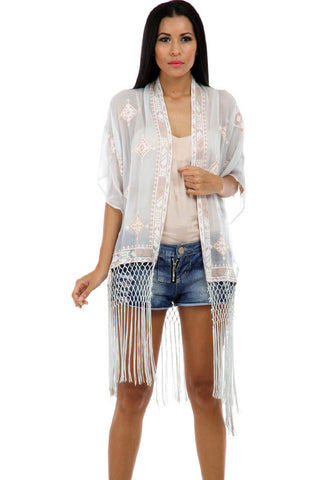 Lady R Margot Fringese Front Open Poncho
