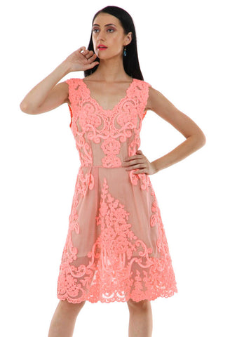 Lady R Pamaro Pretty Pink V-neckline Dress