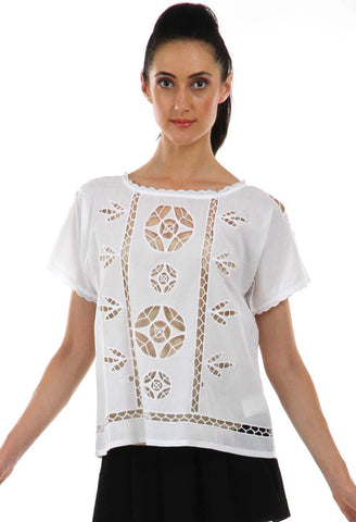 Lady R Femke Cut Work Cotton Top
