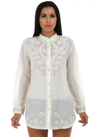 Lady R Crystal Tonal Cross-stitched Shirt
