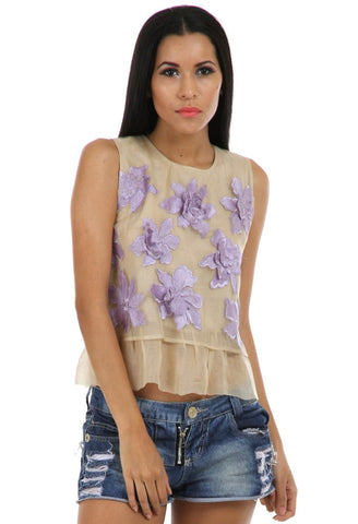 Lady R Macey 3D Flower Organza Top