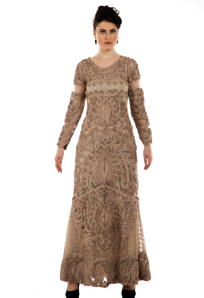 Lady R Elisa full-sleeves Brown Cord work embroidery gown