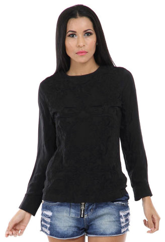 Lady R Kataylen Viscose Crape Embroidered Top