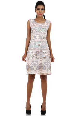 Lady R Bredyl Sequinced Worked Cotton Net Dress