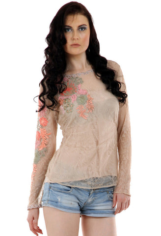 Lady R Yolene Multi Colour Thread Work Embroidery Top