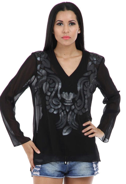 Lady R Audrey Black Leather Patch V-neckline Top