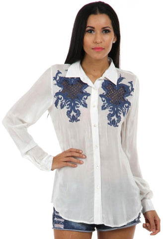 Lady R Gyeong Cut Work Emb Shirt