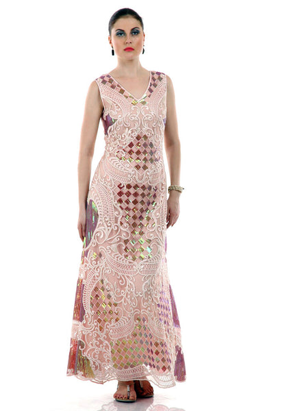Lady R Fang Sequins Peach Colour Gown