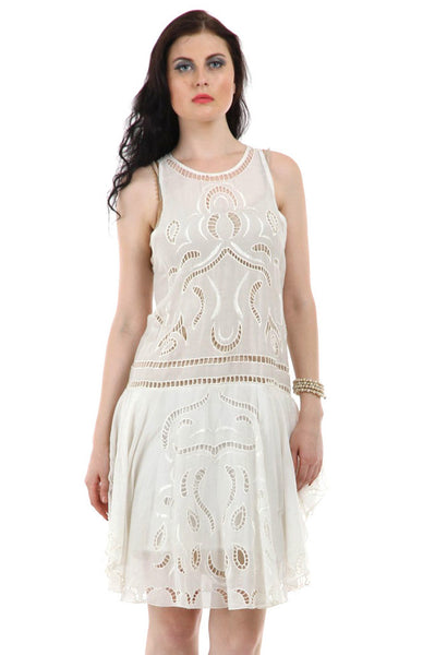 Lady R Vadik Cotton Silk Cut Work Dress