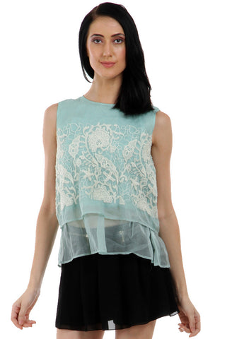 Lady R Edrisa Silk Organza Sleeveless Top