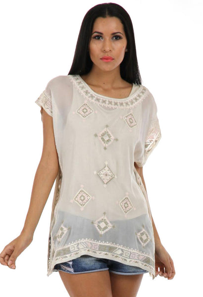 Lady R Rachita Silk Thread Round Neck Top