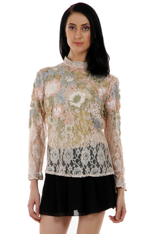 Lady R Verity Self Lace Multi Coloured Flowery Work Top
